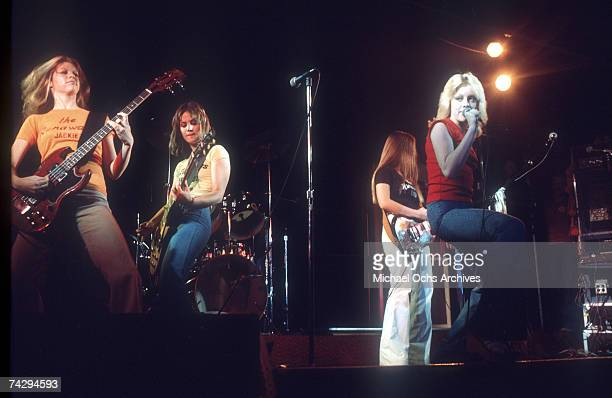 Rock band 'The Runaways' perform on stage in Los Angeles in 1976 Jackie Fox Joan Jett Cherie Currie Lita Ford