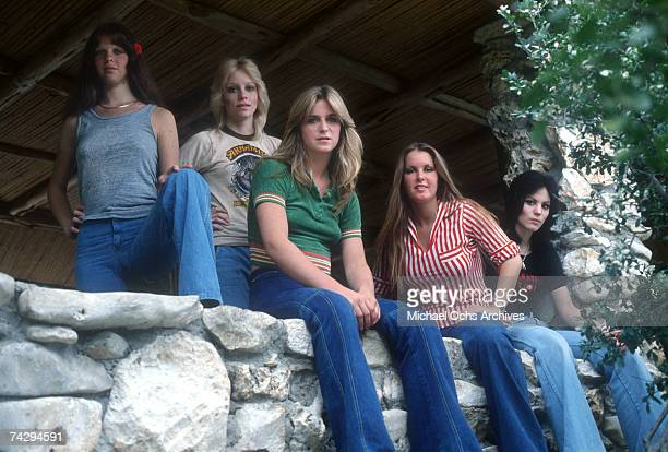 Rock band 'The Runaways' pose for a portrait in 1977 Jackie Fox Cherie Currie Sandy West Lita Ford Joan Jett