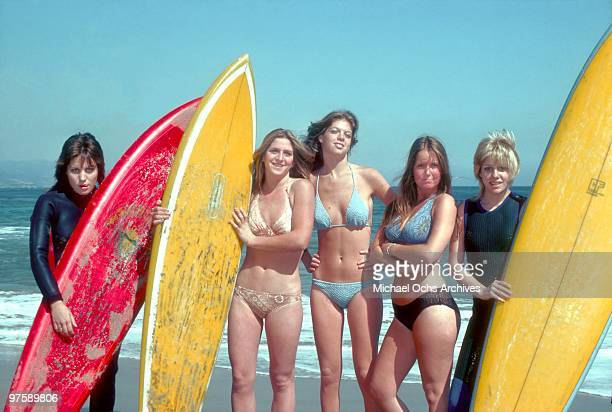 Rock band 'The Runaways' pose for a portrait on the beach in April 1976 in Los Angeles California Joan Jett Sandy West Jackie Fox Lita Ford and...