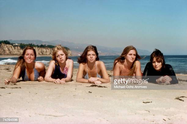 Rock band 'The Runaways' pose for a portrait on the beach in April of 1976 Lita Ford Cherie Currie Jackie Fox Sandy West Joan Jett