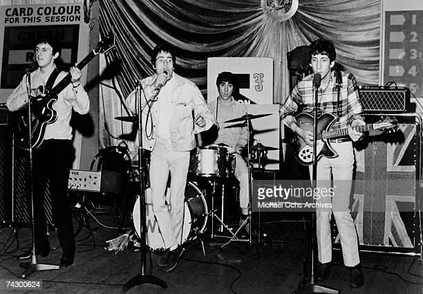 Rock band The Who perform at Shepherds Bush Bingo Hall for the film The Kids Are Alright in 1964 in London England John Entwistle Roger Daltrey Keith...