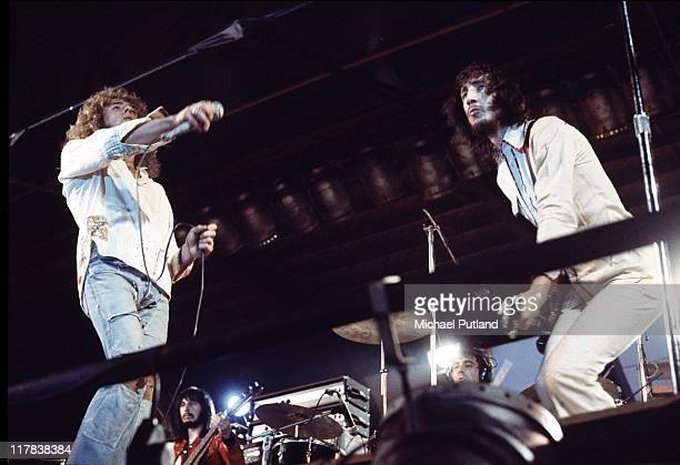 Rock band The Who perform on stage at The Oval cricket ground London 18th September 1971 LR Roger Daltrey John Entwistle Keith Moon and Pete Townshend