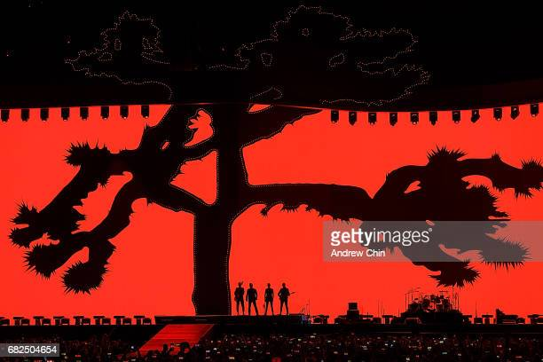 Rock band U2 performs on stage during their 'The Joshua Tree World Tour' opener at BC Place on May 12 2017 in Vancouver Canada