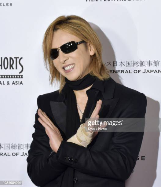 Rock band X Japan drummer Yoshiki poses in Hollywood Los Angeles on Jan 17 at an event to celebrate the 20th anniversary of the Short Shorts Film...