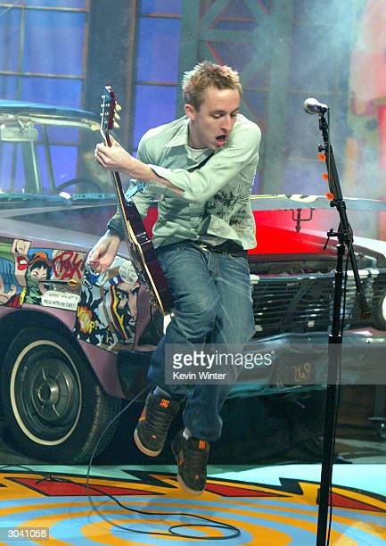 Rock band Yellowcard with singer Ryan Key appears on The Tonight Show with Jay Leno on March 3 2004 at the NBC Studios in Burbank California