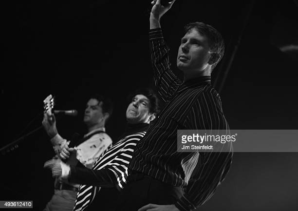 Rock bands Franz Ferdinand and Sparks combine to form the band FFS Nick McCarthy Russell Mael Alex Kapranos perform at The Observatory in Santa Ana...