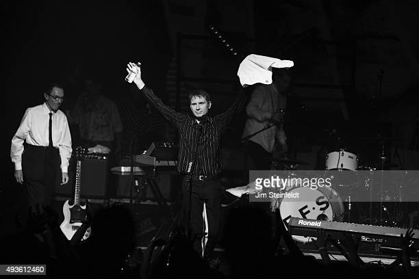Rock bands Franz Ferdinand, and Sparks combine to form the band FFS, Ron Mael, Alex Karpanos performs at The Observatory in Santa Ana, California on...