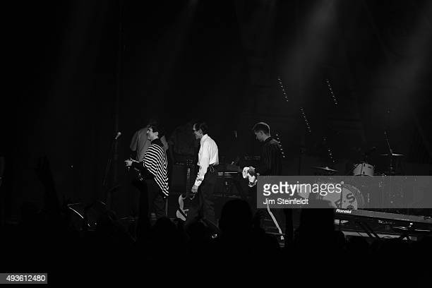 Rock bands Franz Ferdinand, and Sparks combine to form the band FFS Russell Mael, Ron Mael, Alex Kapranos, exit the stage at the end of their...