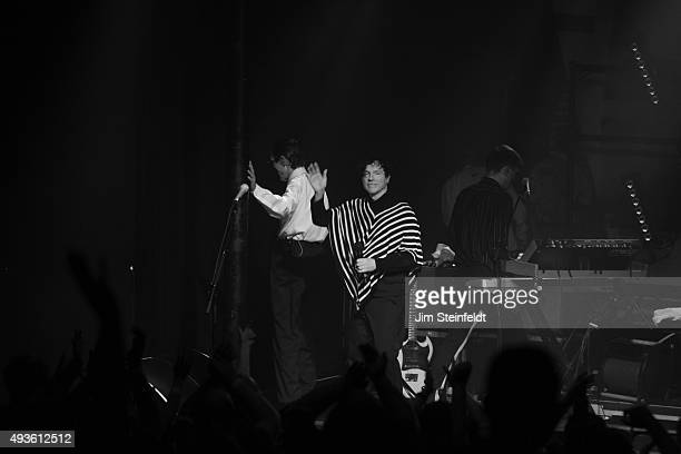 Rock bands Franz Ferdinand, and Sparks combine to form the band FFS Ron Mael, Russell Mael, Alex Kapranos, exit the stage at the end of their...