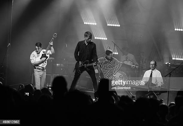 Rock bands Franz Ferdinand, and Sparks combine to form the band FFS Nick McCarthy, Alex Kapranos, Russell Mael, Paul Thomson, Ron Mael perform at The...