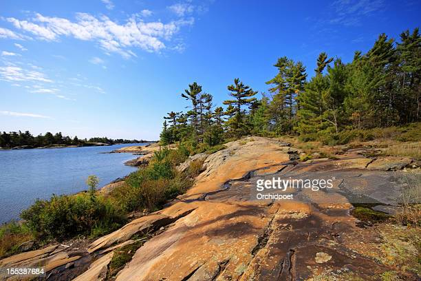 rock beach in georgian bay - bedrock stock pictures, royalty-free photos & images