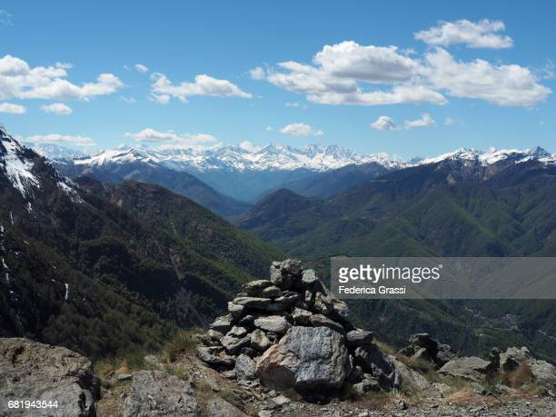 rock cairn on top of mount pizzo leone, ticino, switzerland - ascona stock pictures, royalty-free photos & images