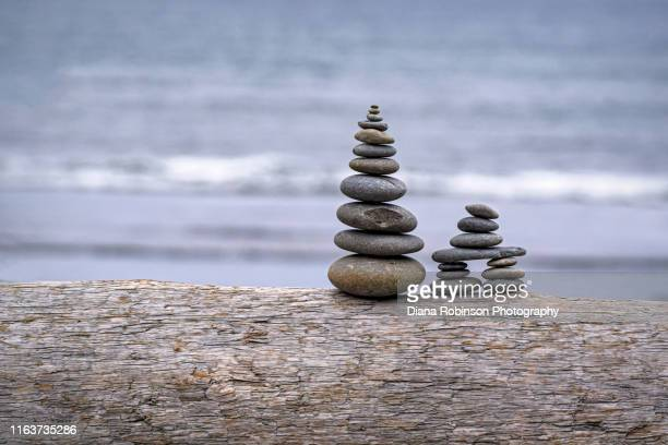 rock cairns on log on ruby beach, olympic national park, olympic peninsula, washington state - 石塚 ストックフォトと画像