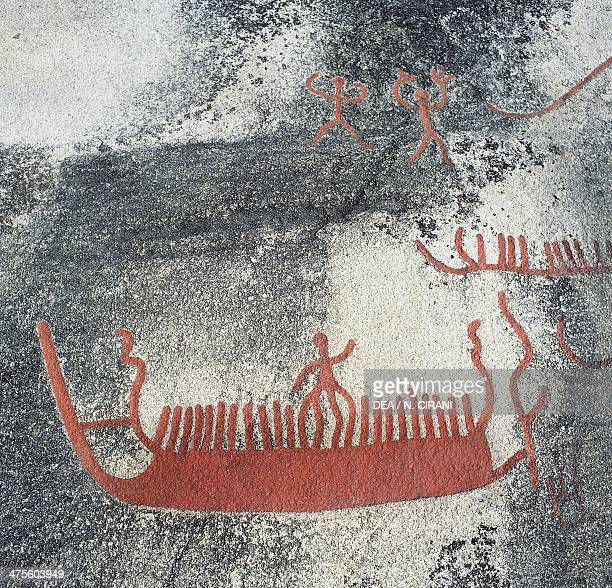 Rock carving depicting a boat, Begby, Norway. Bronze Age.