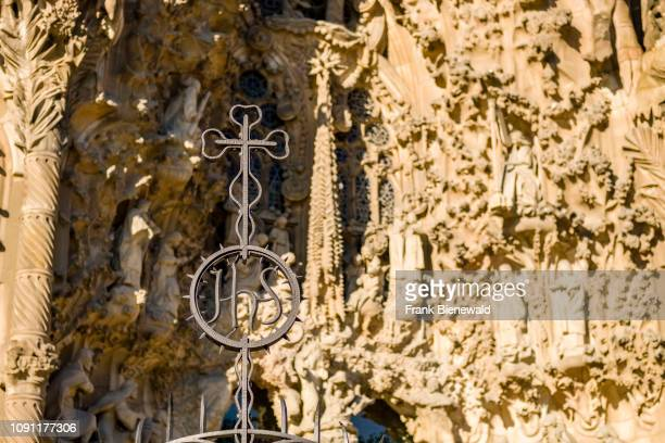 Rock carving detail of the church Sagrada Familia, Antoni Gaudis most famous work, still under construction and planned to be completed in 2026.
