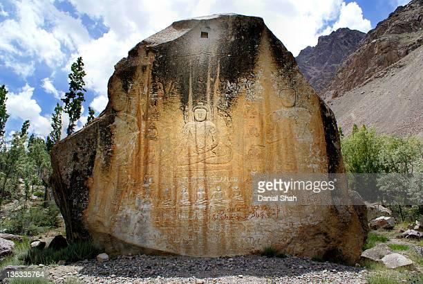 rock carving of buddha, skardu - baltistan - skardu stock pictures, royalty-free photos & images