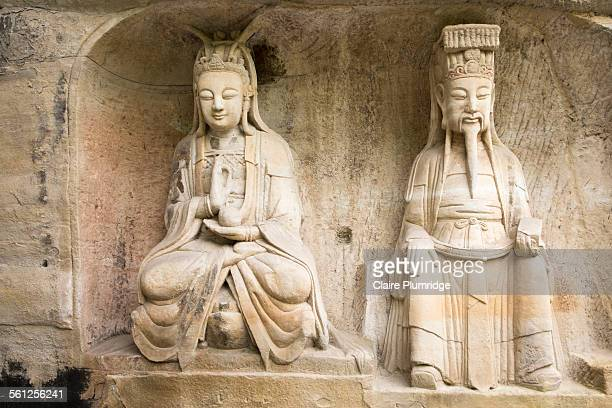 rock carvings, beishan, dazu, chongqing, china - claire plumridge stock pictures, royalty-free photos & images