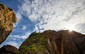 Rock cliff sun star