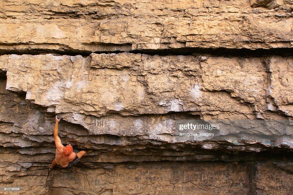 rock climber climbing landscape : Stock Photo