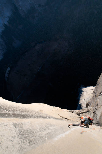Rock climber crack climbing on the Nose, El Capitan in Yosemite