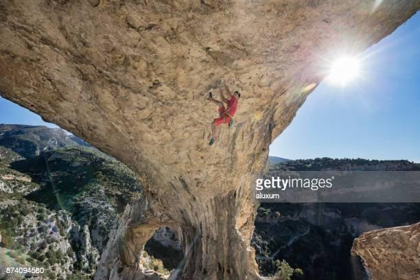Rock climber in Rodellar Aragon Spain