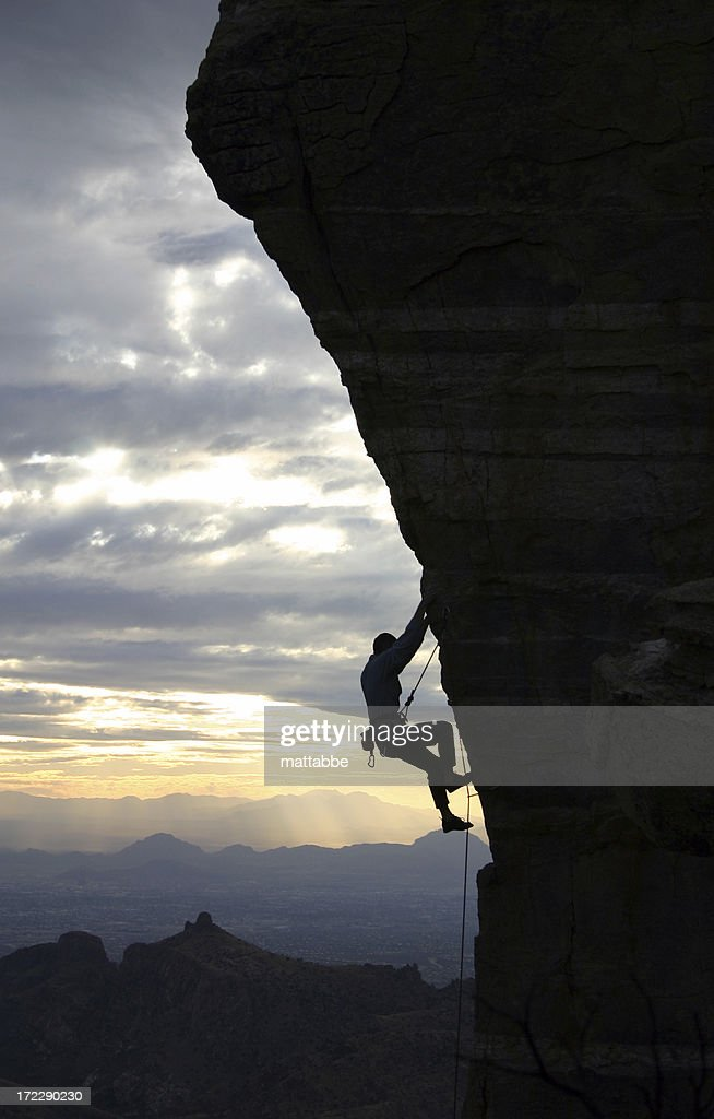 Rock Climber in Tucson : Stock Photo