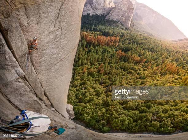 Rock climber on El Capitan, overhead view, Yosemite Valley, California, United States