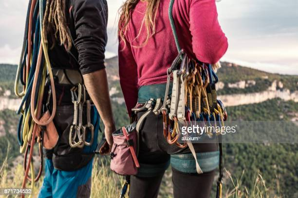 rock climbers equipment - climbing equipment stock pictures, royalty-free photos & images