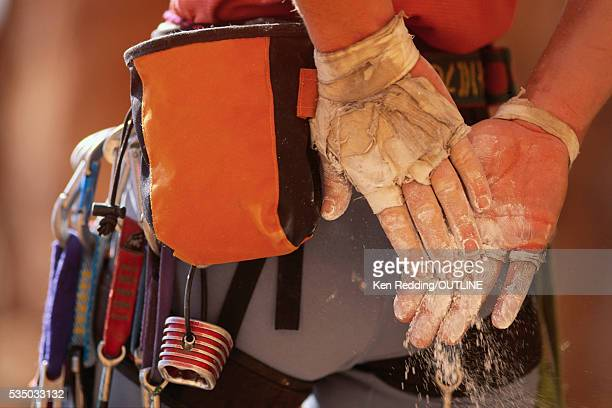 rock climber's hands - chalk bag stock pictures, royalty-free photos & images