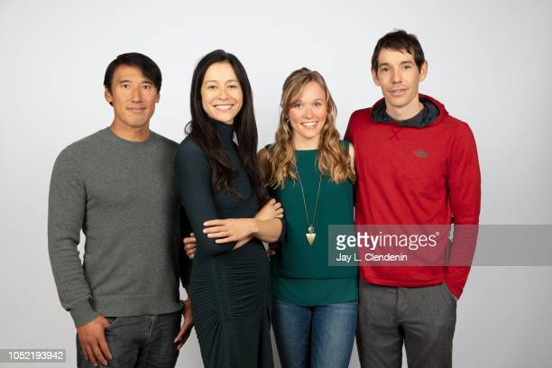 Rock climbers Jimmy Chin director Elizabeth Chai Vasarhelyi Sanni McCandless and Alex Honnold from 'Free Solo' are photographed for Los Angeles Times...