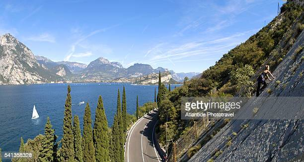 Rock Climbing Above Lake Garda Near Torbole