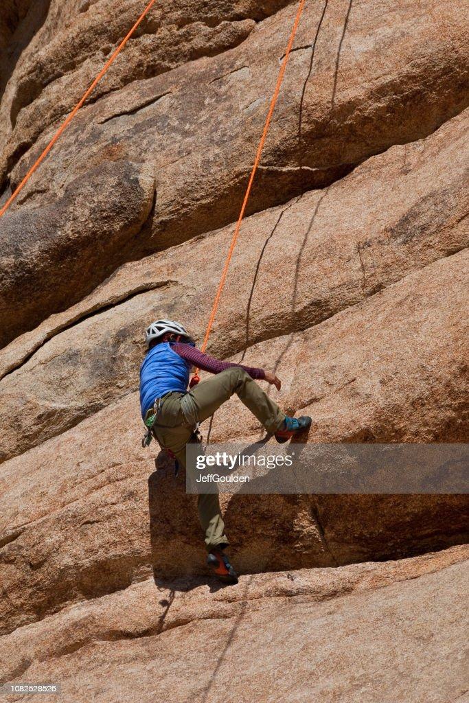 Rock Climbing at Joshua Tree National Park : Stock Photo