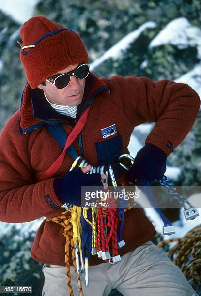 Sporting Look Portrait of Patagonia founder Yvon Chouinard wearing polypropylene clothing by Patagonia during photo shoot at Taos Ski Valley Taos...