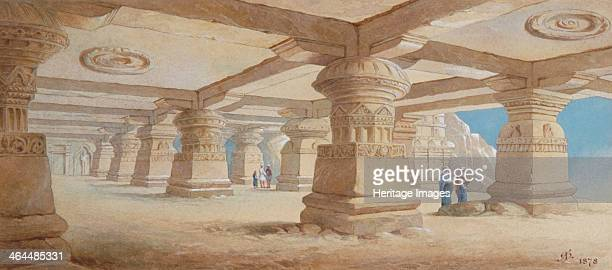 'Rock Cut Temple Ellora' Maharashtra India 1878 Ellora is famous for its rock temples a series of caves carved out of the rocky hillside one and a...