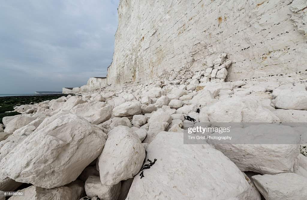 Rock Fall Debris, Seven Sisters Cliffs : Stock Photo