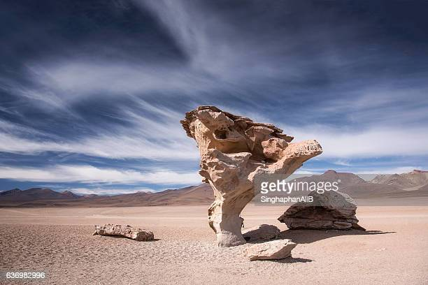 "rock formation ""arbol de piedra"", atacama desert in altiplano, bolivia - rock formation stock pictures, royalty-free photos & images"
