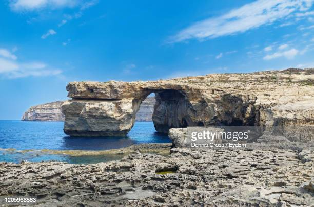rock formation called azure window on maltese island of gozo, destroyed in 2017 during storm - storm dennis stock pictures, royalty-free photos & images