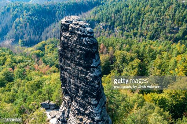 rock formation in front of pravčická brána, bohemian switzerland, czech republic - czech republic stock pictures, royalty-free photos & images