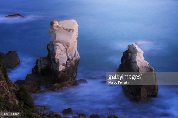 Rock Formation in Sea during Blue Hour, Chiba, Japan