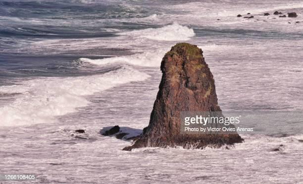 rock formation in the coast of benijo in the anaga rural park in tenerife - victor ovies fotografías e imágenes de stock