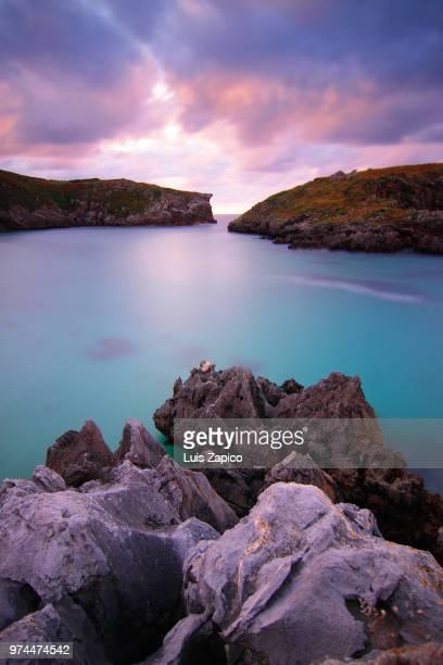Rock formation near bay, Cabo de Mar, Llanes, Asturias, Spain