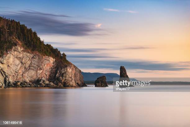 rock formation ocean seascape - nova scotia stock pictures, royalty-free photos & images