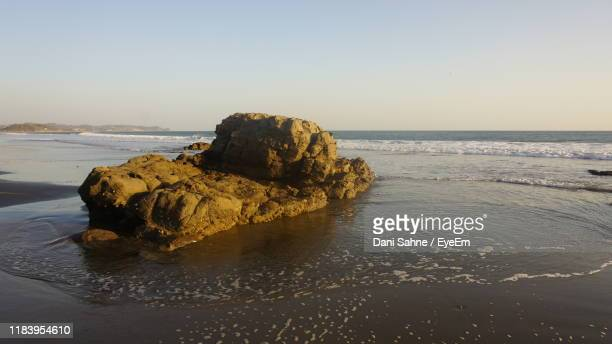 rock formation on beach against clear sky - sahne ストックフォトと画像