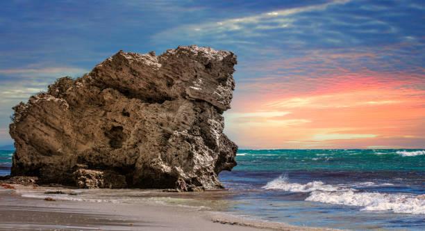 Rock formation on Two Rocks beach at sunset, Perth, Western Australia, Australia