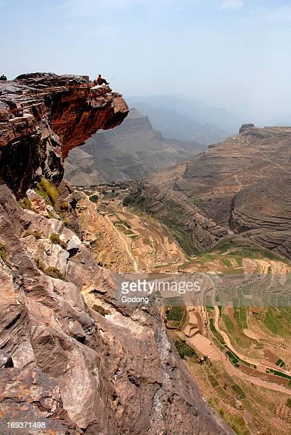 Rock formation over BaiT Muni valley Yemen