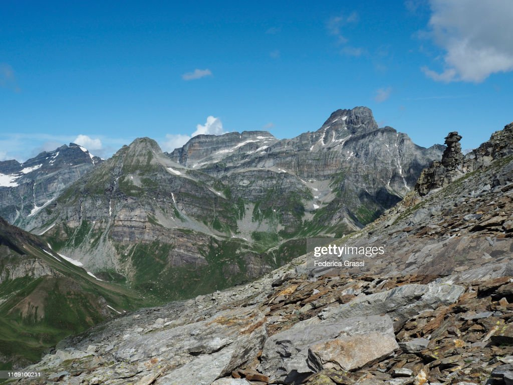 Rock Formation Vaguely Resembling A Hoodoo On Mt. Pizzo Diei : Stock Photo