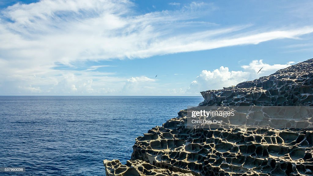 Rock formation with sponge like texture : Stock Photo
