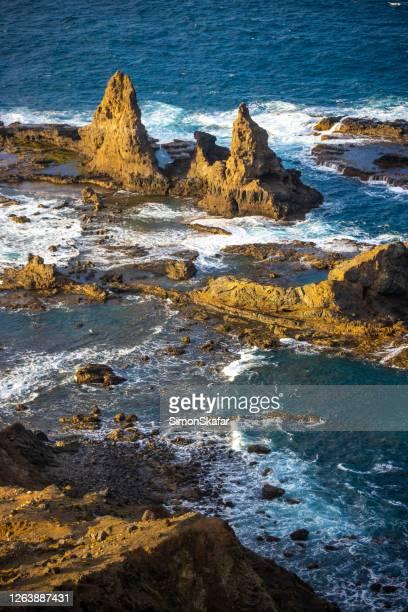 rock formations along sea coast, la gomera, canary islands, spain - atlantic islands stock pictures, royalty-free photos & images