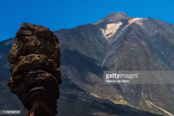 Rock formations and Mount Teide a volcano of 3718m is the highest point in Spain located in Teide National Park Canary Islands