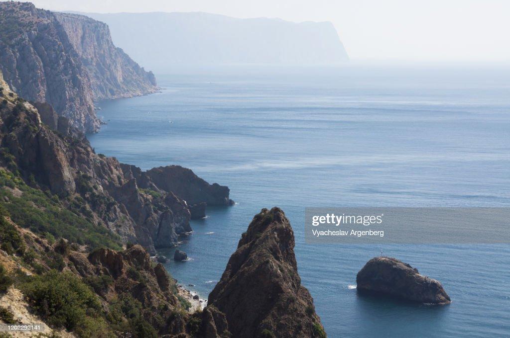 Rock formations around Cape Fiolent, rocky coastline, Crimea : Stock Photo